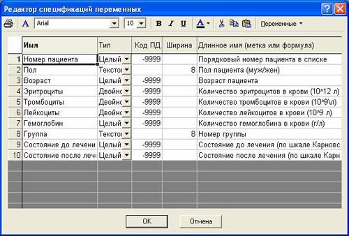 Редактор спецификаций переменных