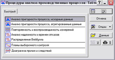 """Стартовое окно """"Анализ процессов"""""""